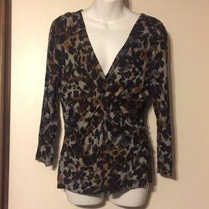 Cable & Gauge leopard print blouse, M